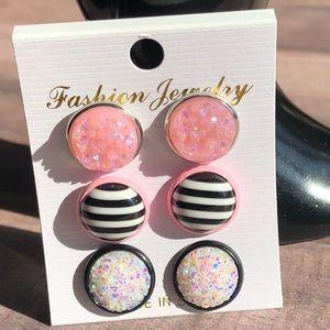 🆕Candy Striper Pink & Black Trio Stud Earrings!